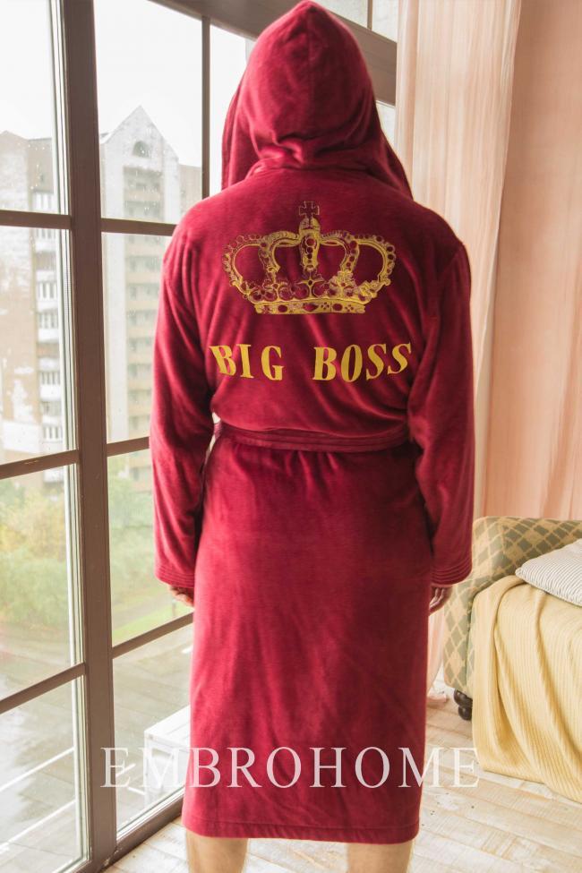 Чоловічій велюровий халат з капюшоном і іменною вишивкою