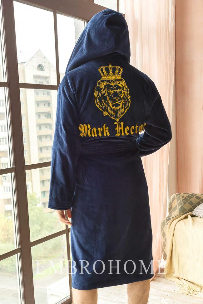 Іменний халат з вишитим левом від виробника ТМ Емброхоум