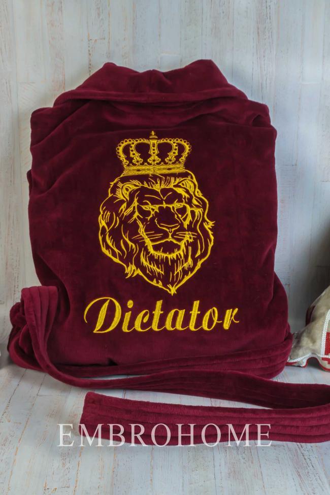 """Мужской халат с вышитым львом и надписью """"Dictator"""""""