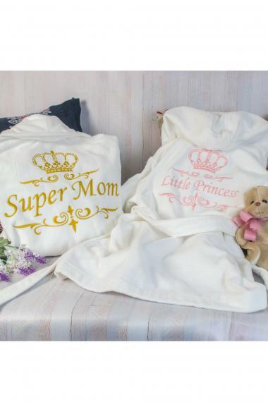 Халаты с вышивкой фемили лук для мамы и дочки