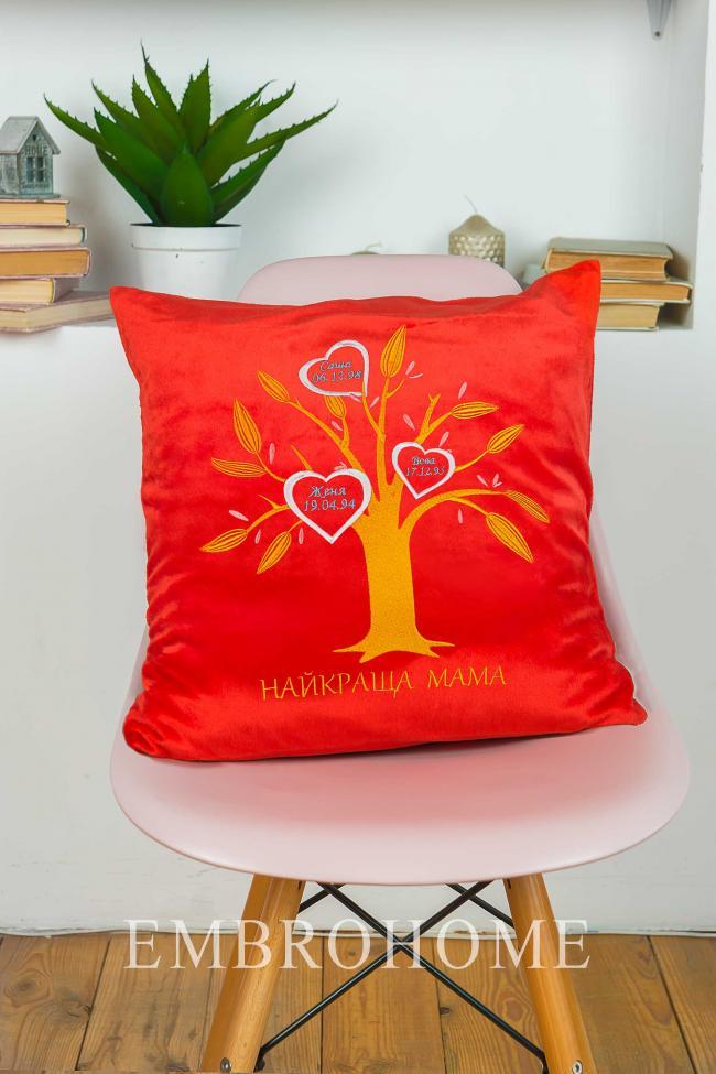 Декоративна подушка з вишивкою, подарунок для мами
